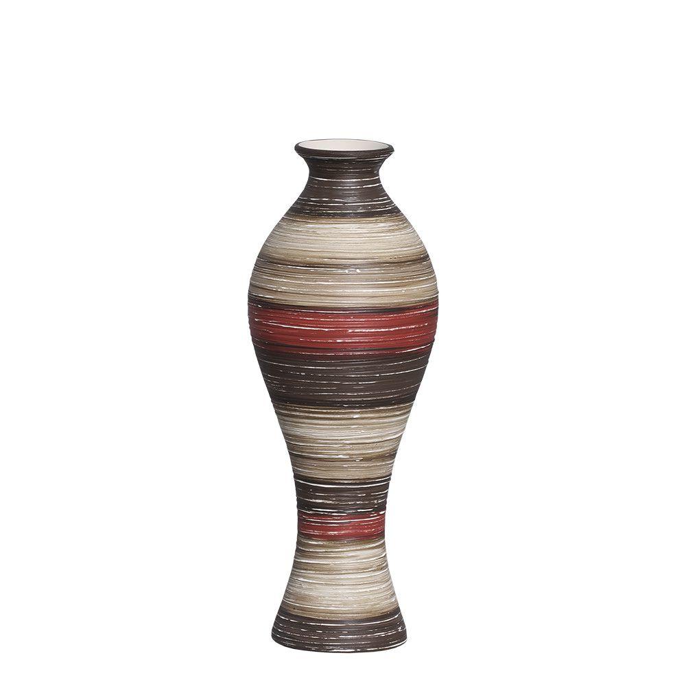 Vaso Califórnia M Decoração Cerâmica Vermelho e Marrom Terracota