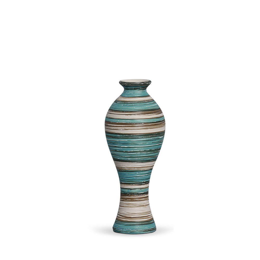 Vaso Califórnia P Decoração Em Cerâmica Azul e Palha Marrakesh