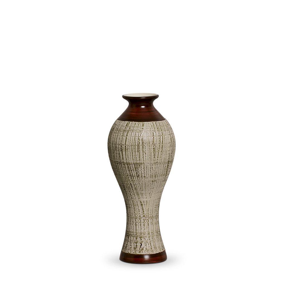 Vaso Califórnia P Decoração em Cerâmica Marrom E Palha Ganash