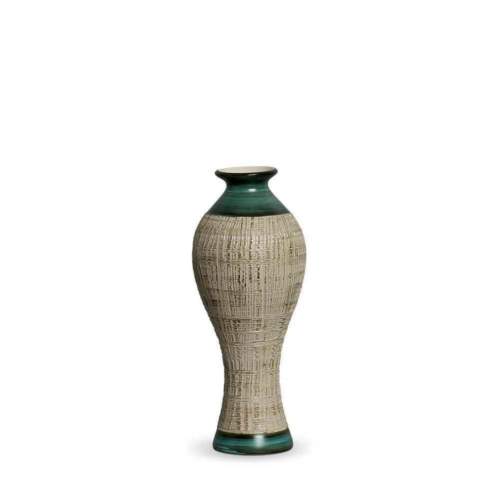 Vaso Califórnia P Decoração Em Cerâmica Verde E Palha Dubai