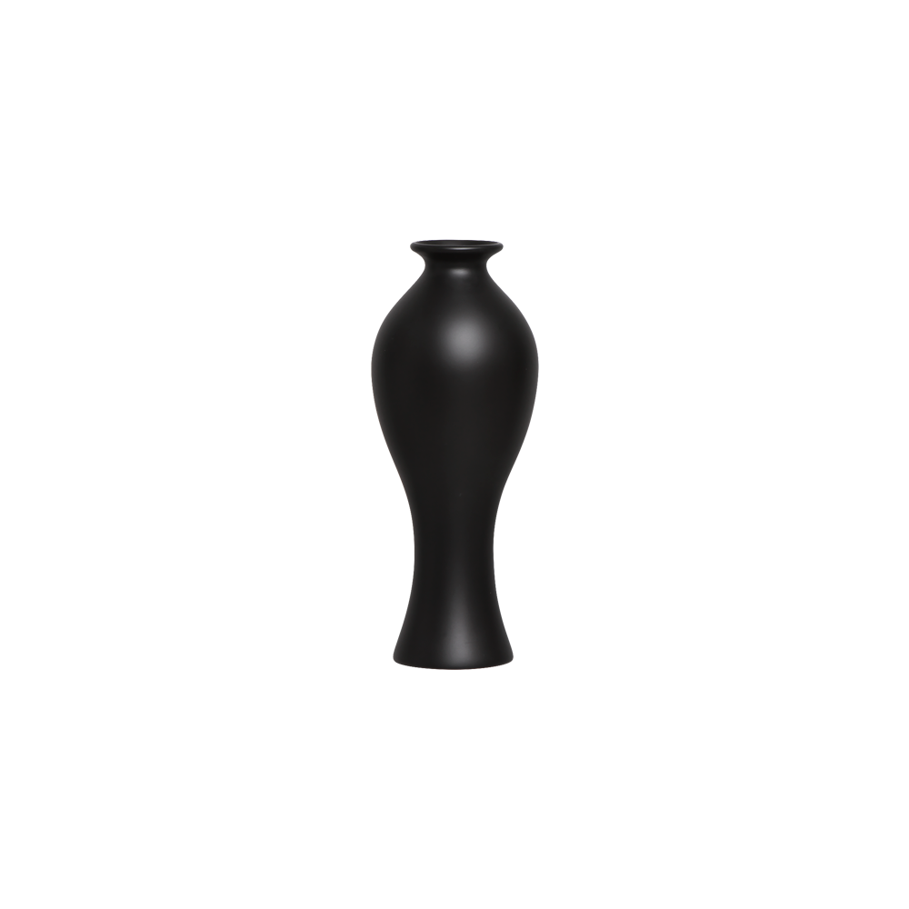 Vaso Califórnia P Decoração Em Cerâmica Preto Fosco