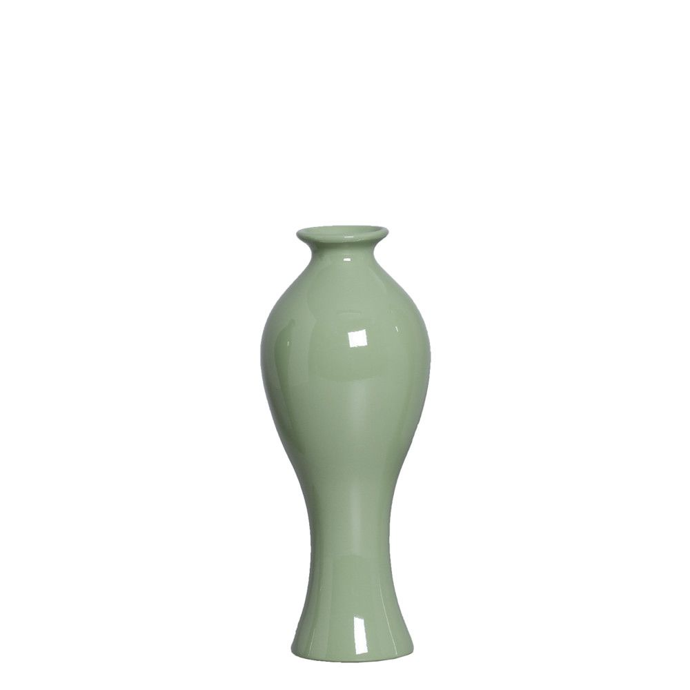 Vaso Califórnia P Decoração Em Cerâmica Verde Brilhante