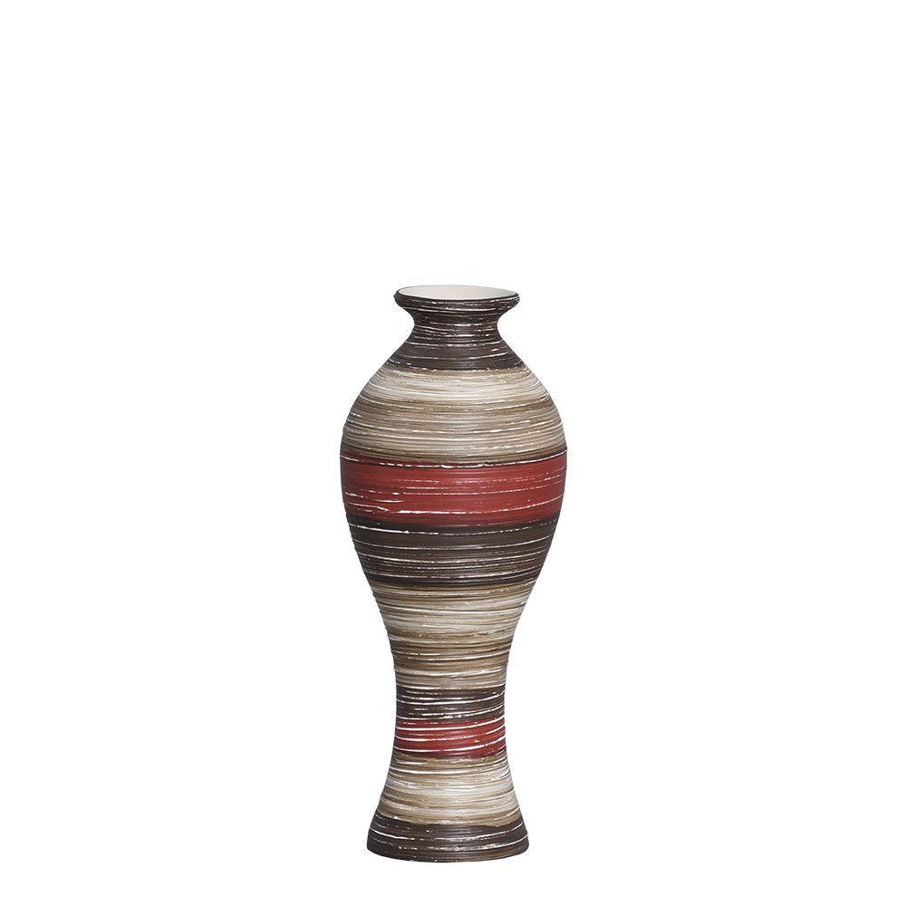 Vaso Califórnia P Decoração Cerâmica Vermelho e Marrom Terracota