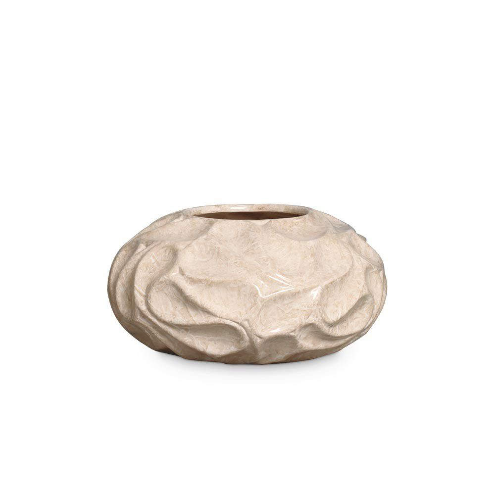 Vaso Colmeia P Decoração Em Cerâmica Bege Marmorizado Petra