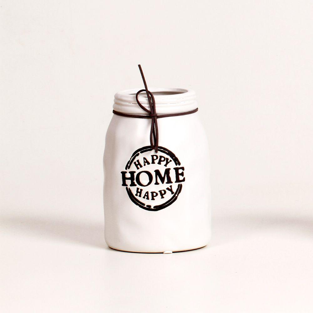 Vaso Para Planta Decorativo Happy Home Branco De Cerâmica