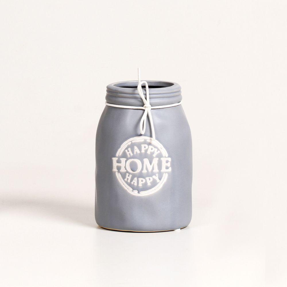 Vaso Para Planta Decorativo De Ceramica Happy Home Cinza