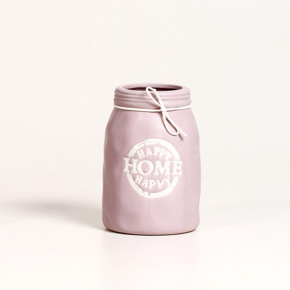 Vaso Para Planta Decorativo De Ceramica Happy Home Rosa