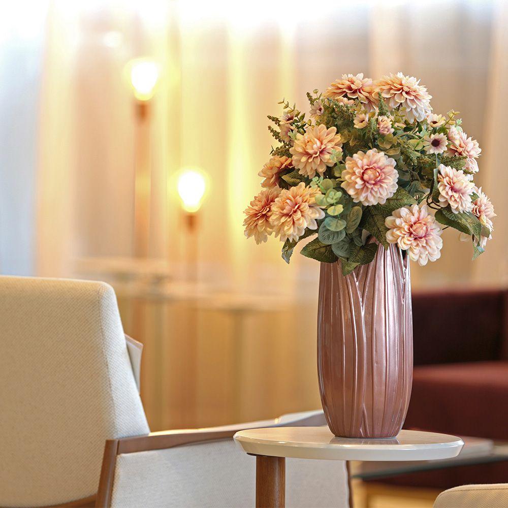 Vaso Decorativo Folha G Decoração Em Cerâmica Rose Gold