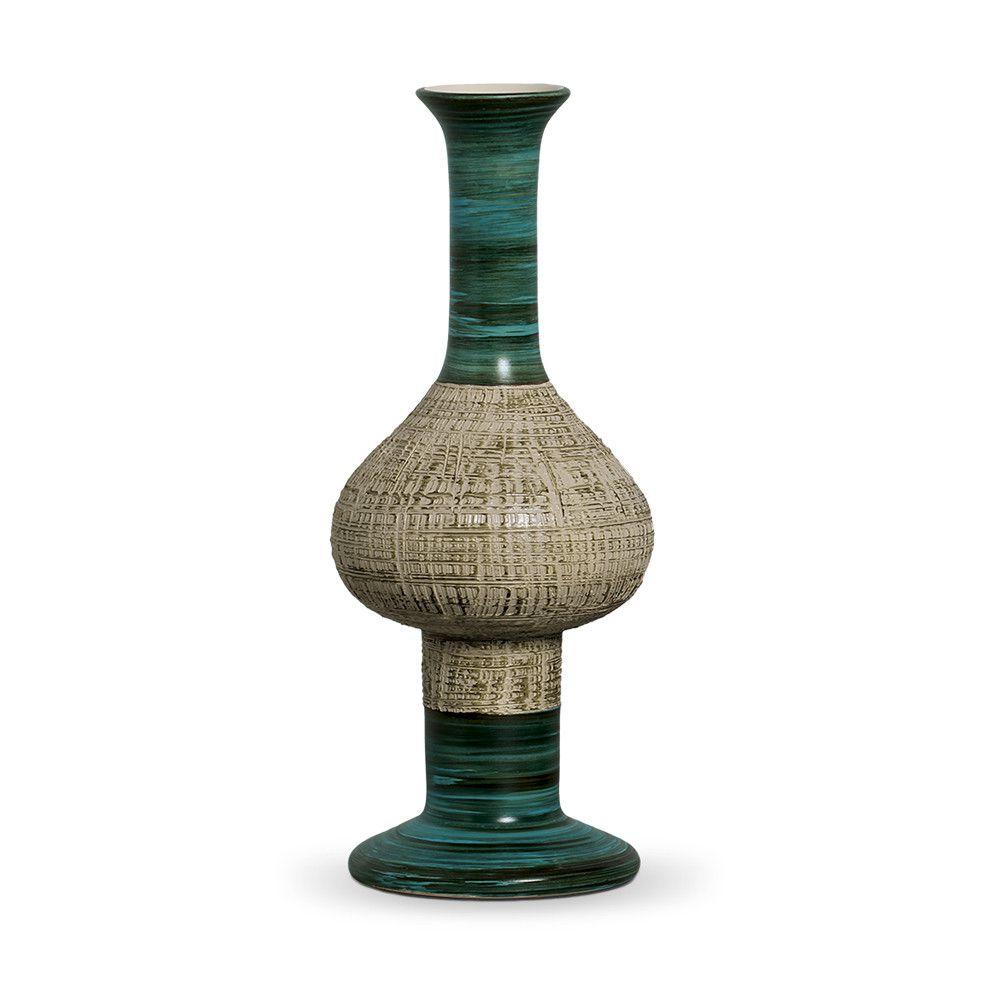 Vaso Fênix G Decoração Em Cerâmica Verde E Palha Dubai