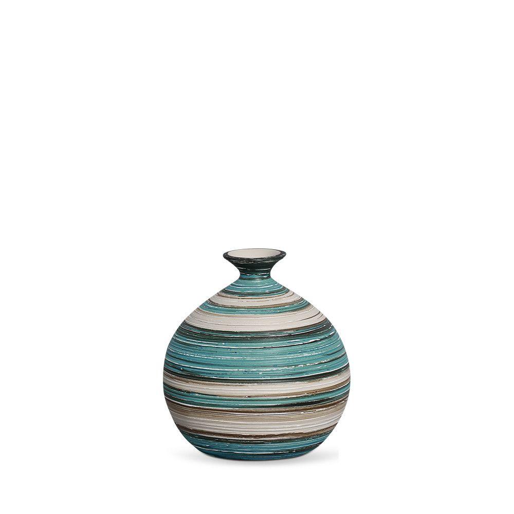 Vaso Maia G Decoração Em Cerâmica Azul e Palha Marrakesh
