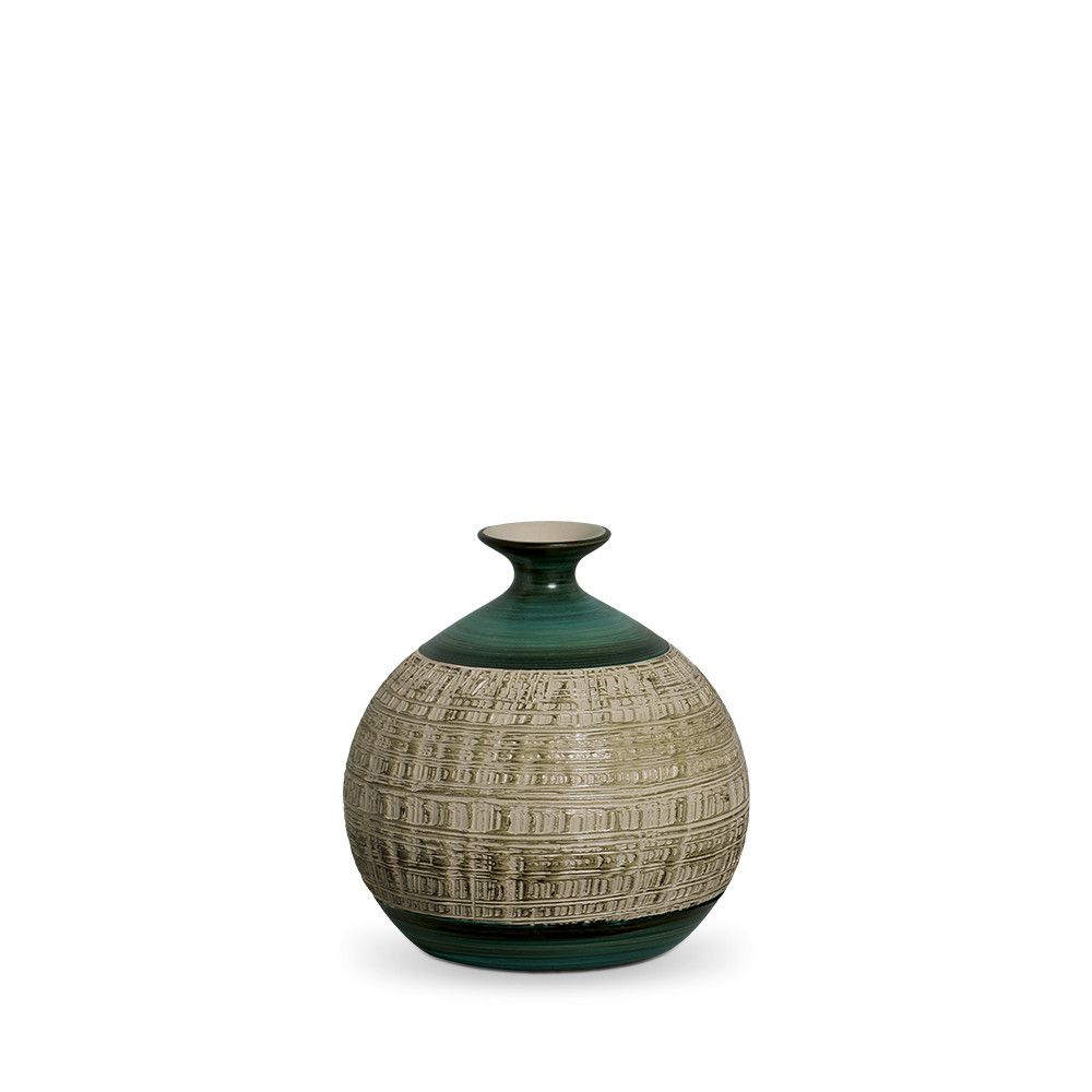 Vaso Maia G Decoração Em Cerâmica Verde E Palha Dubai