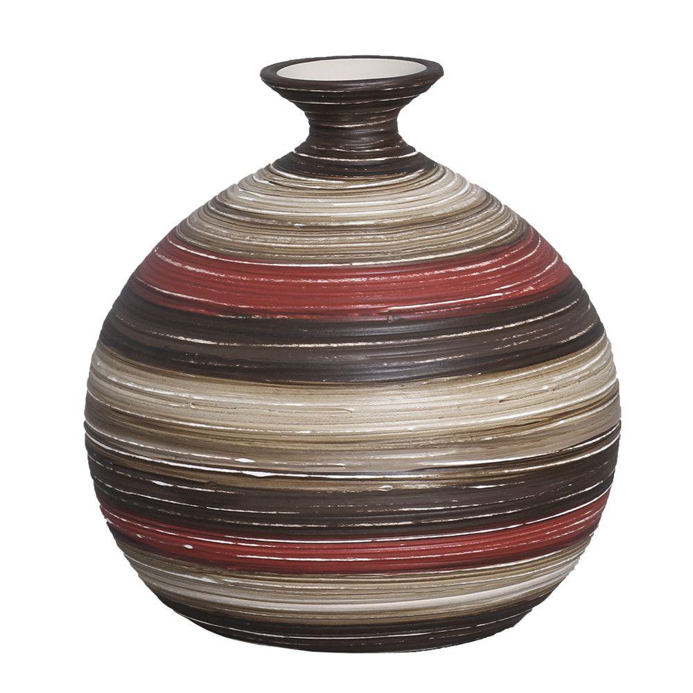 Vaso Maia G Decoração Cerâmica Vermelho e Marrom Terracota