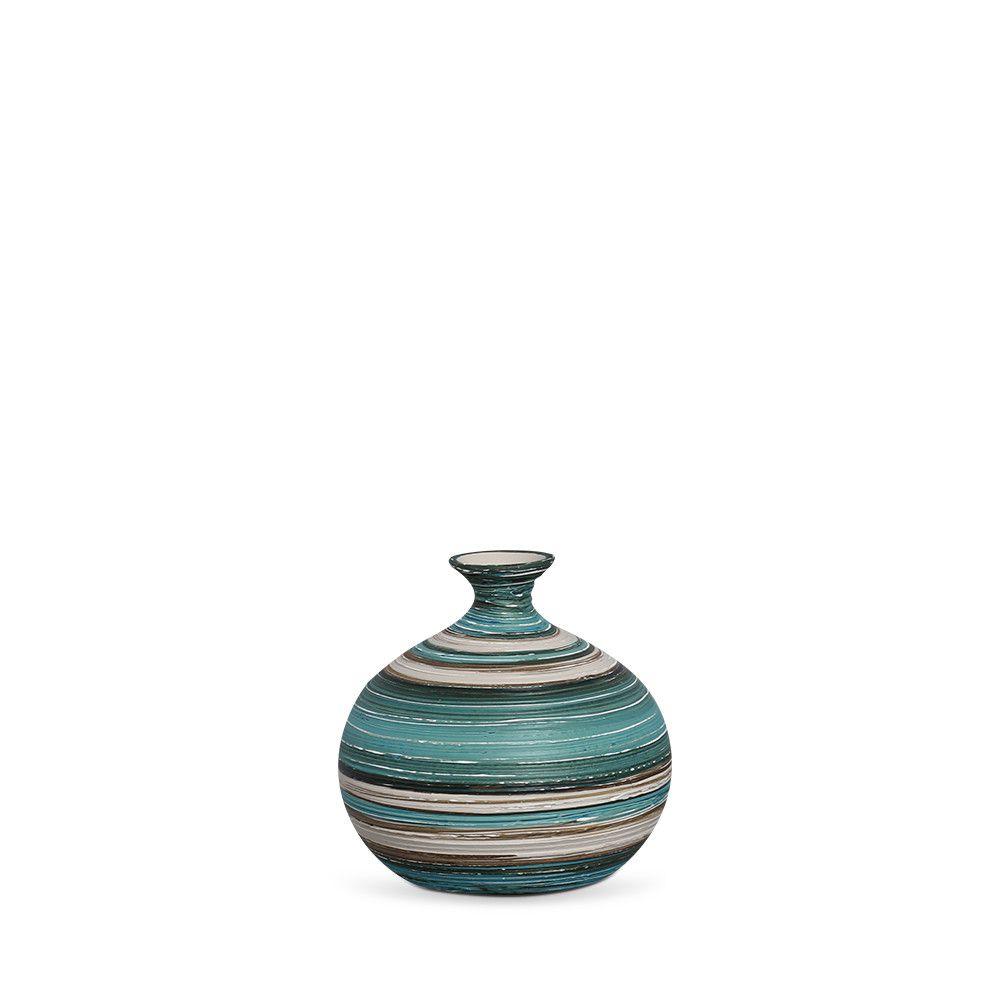 Vaso Maia M Decoração Em Cerâmica Azul e Palha Marrakesh