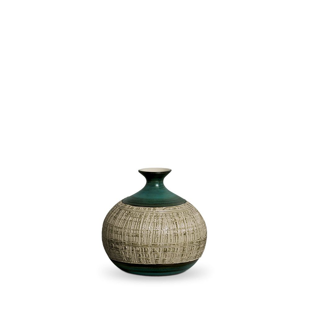 Vaso Maia M Decoração Em Cerâmica Verde E Palha Dubai