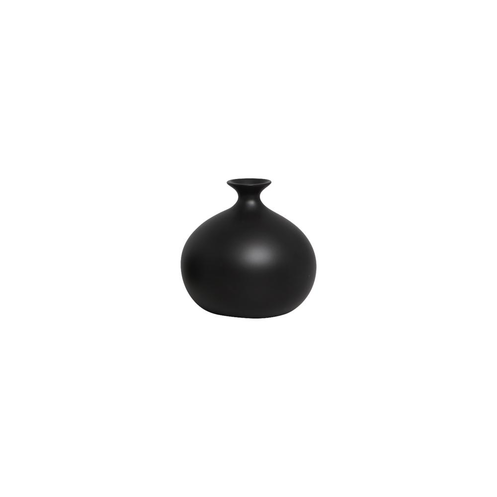 Vaso Maia M Decoração Em Cerâmica Preto Fosco