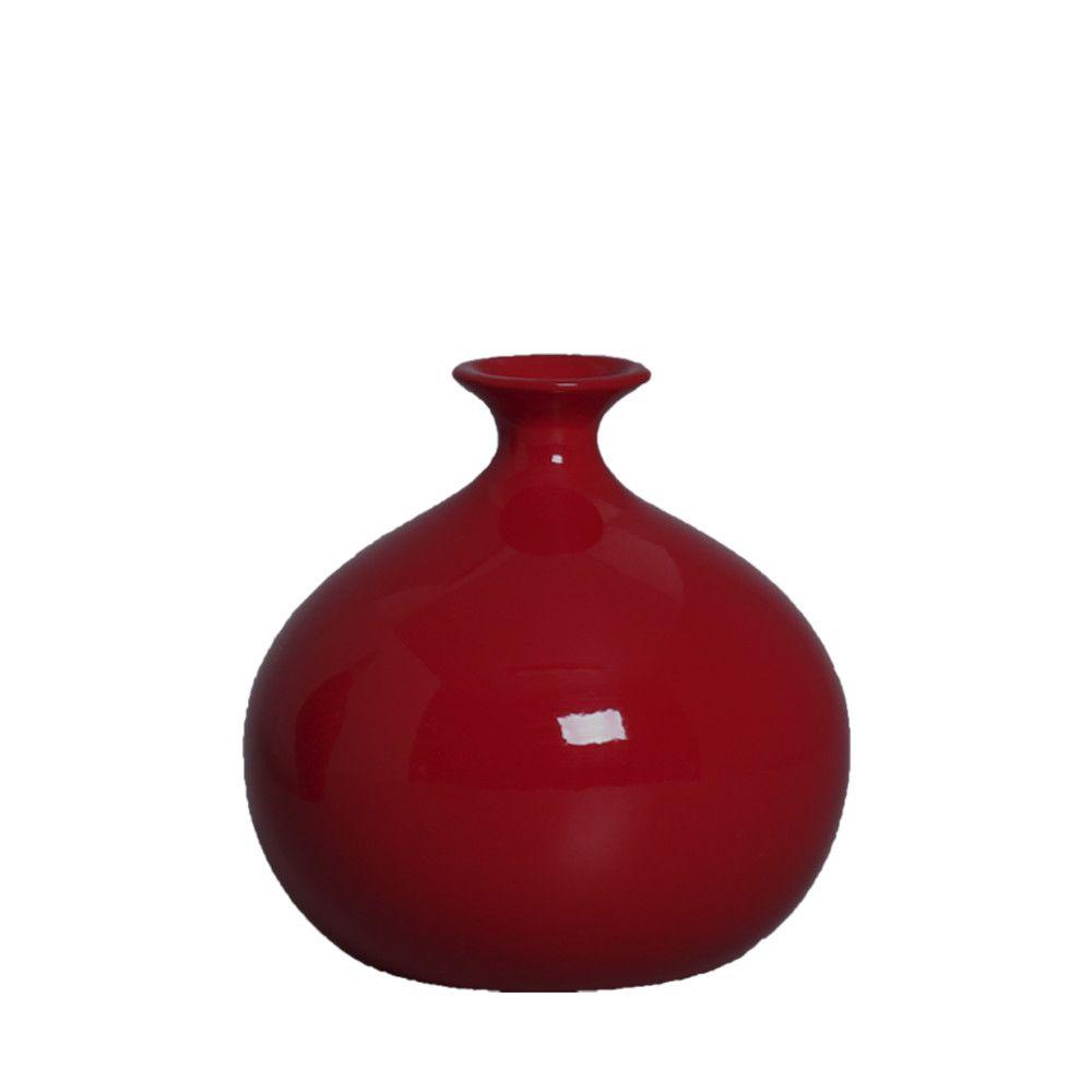 Vaso Maia M Decoração Em Cerâmica Vermelho