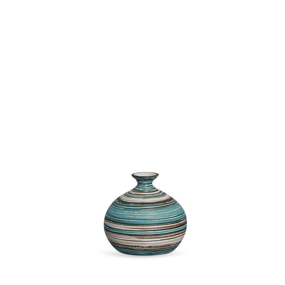 Vaso Maia P Decoração em Cerâmica Azul e Palha Marrakesh