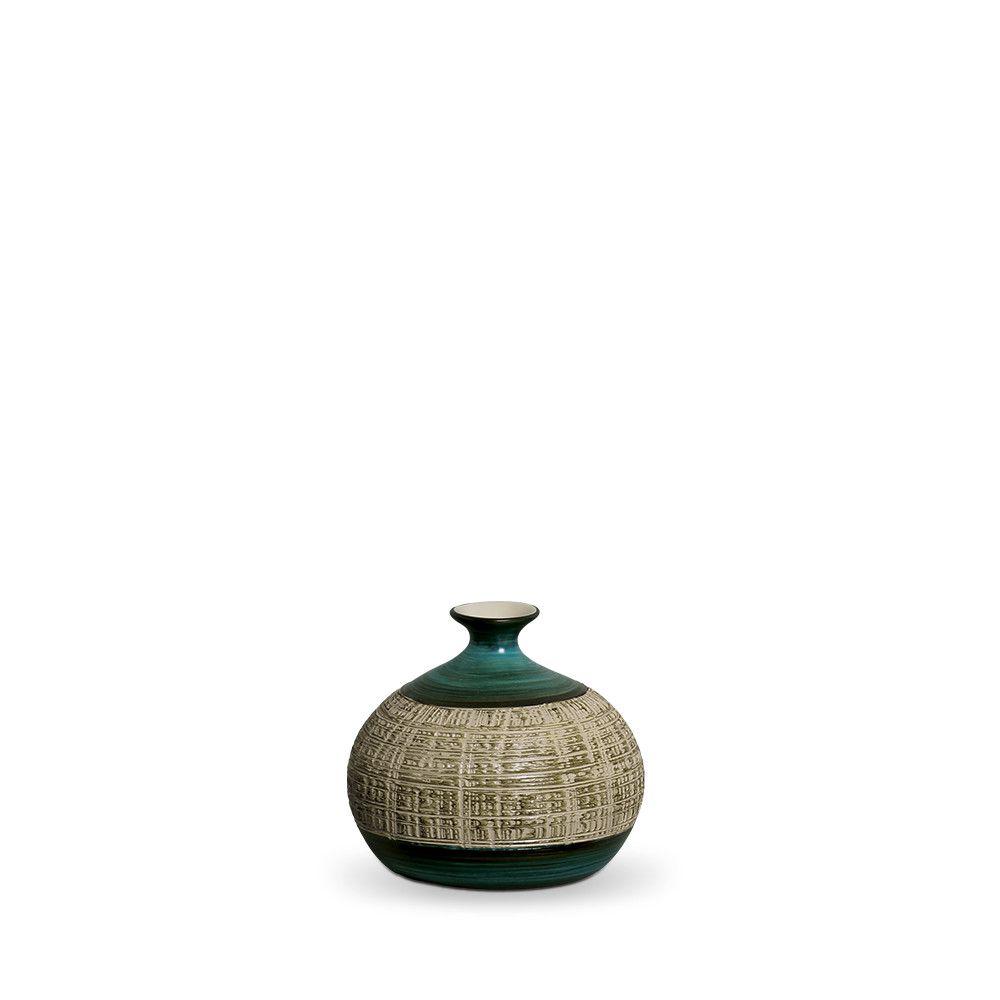 Vaso Maia P Decoração Em Cerâmica Verde E Palha