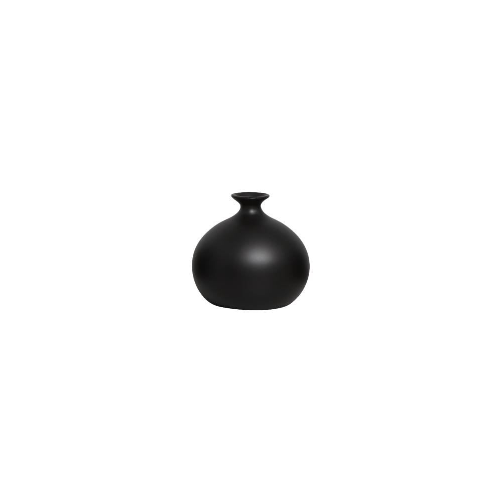 Vaso Maia P Decoração Em Cerâmica Preto Fosco