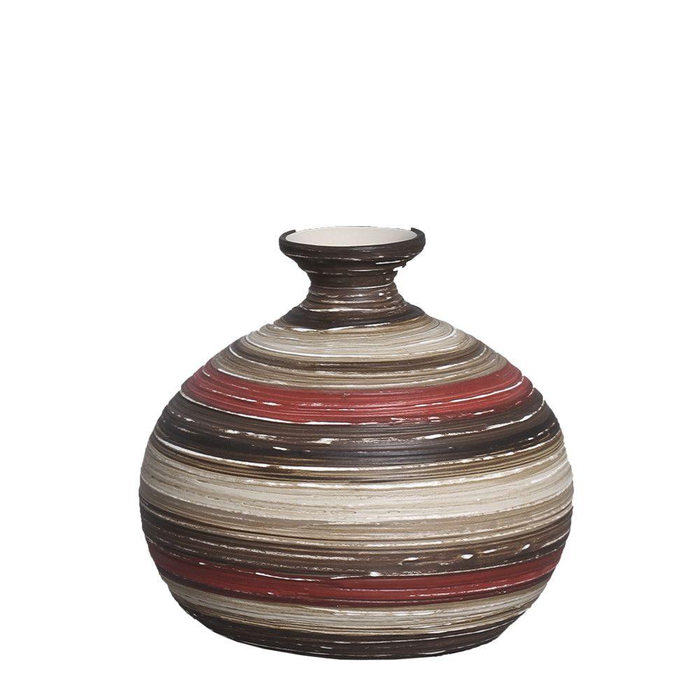 Vaso Maia P Decoração Cerâmica Vermelho e Marrom Terracota