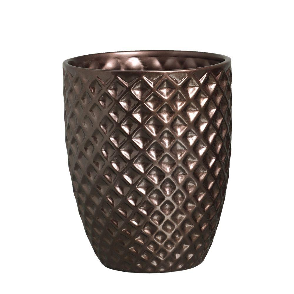 Vaso Mônaco G Decoração Em Cerâmica Bronze