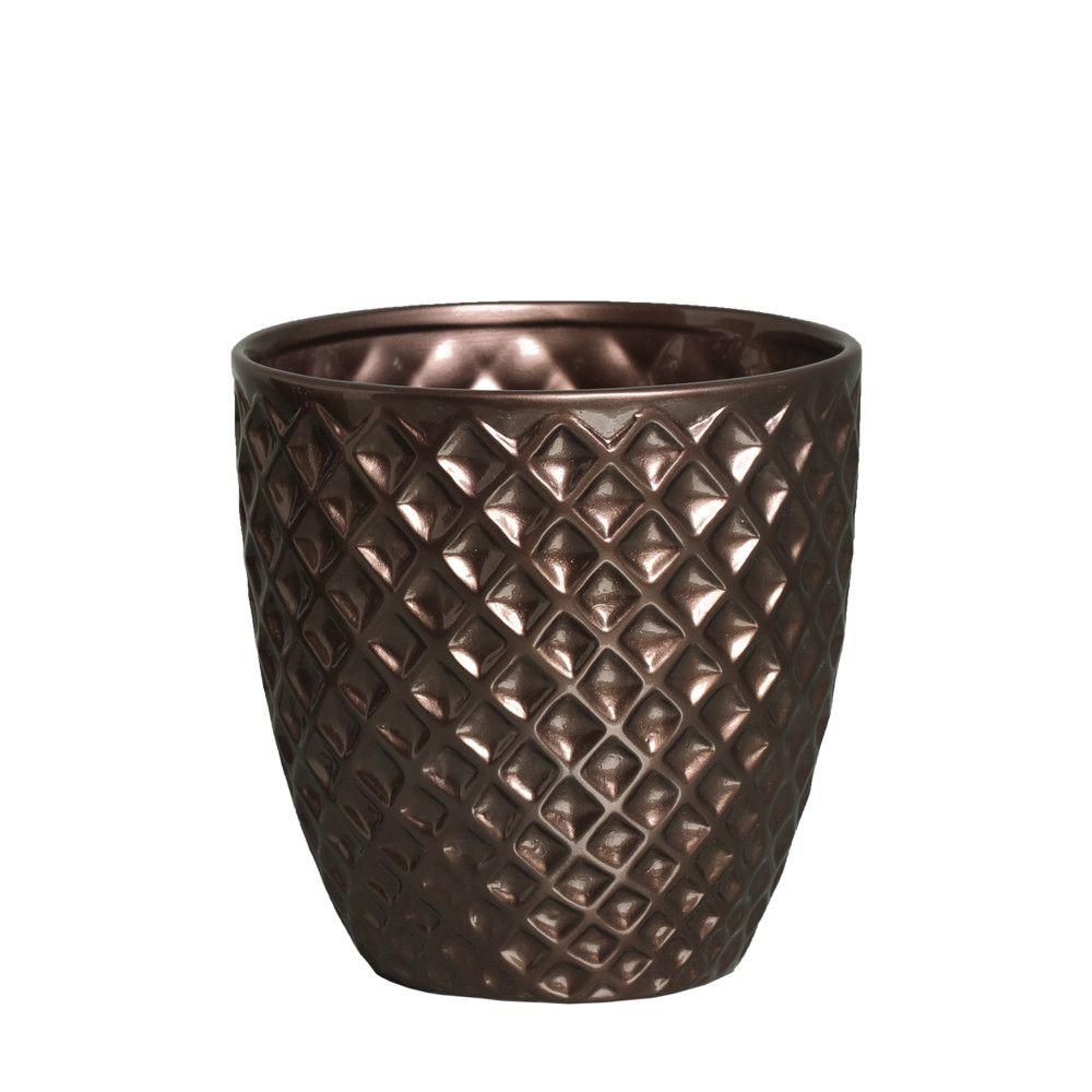 Vaso Mônaco P Decoração Em Cerâmica Bronze