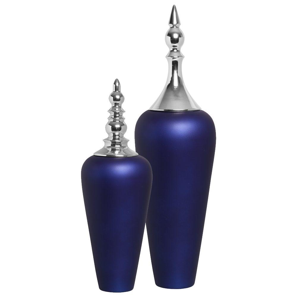 Vasos de Chão Decorativo Atlanta Tampa Cromada Azul Royal