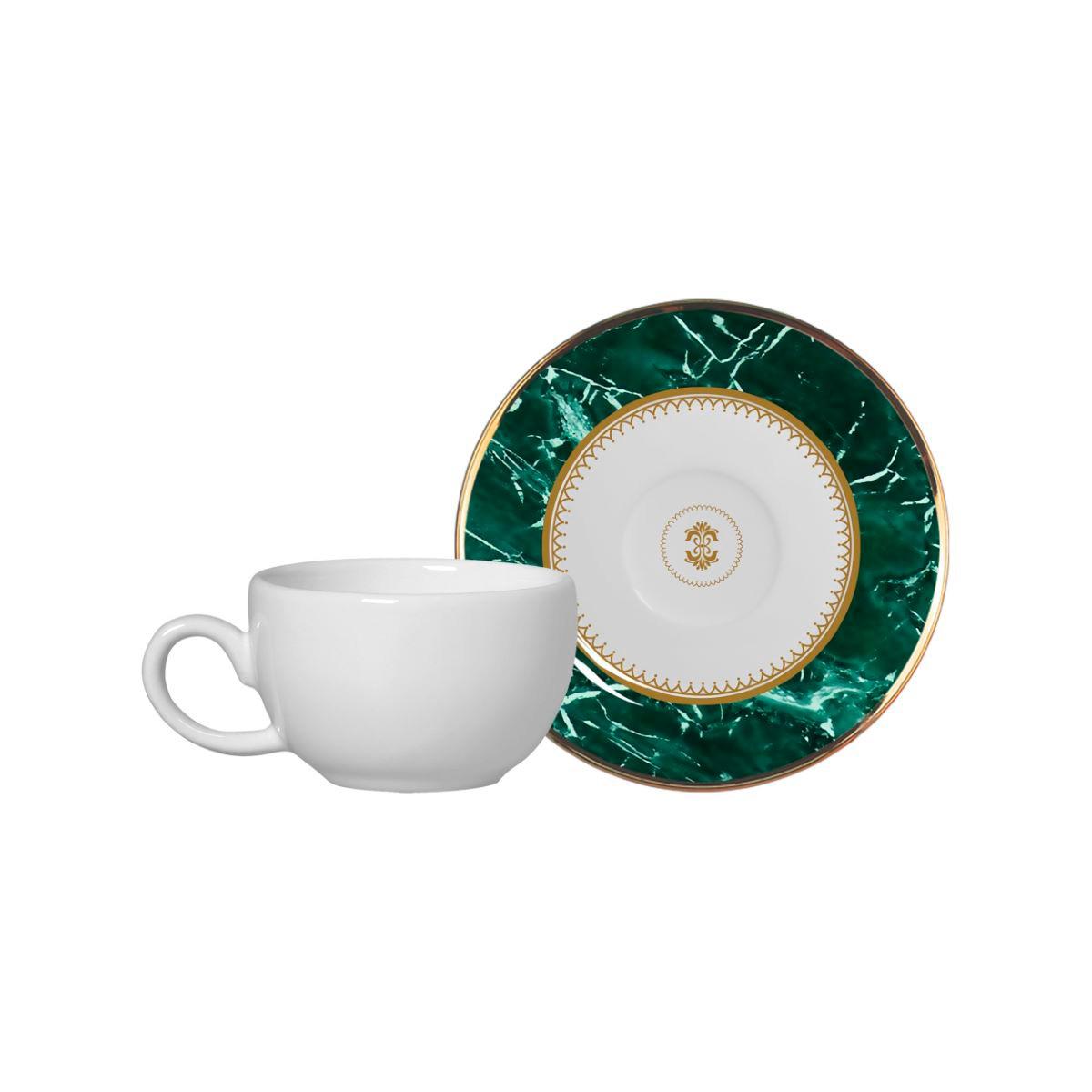 Conjunto de Xícara de Café + Píres Marble Verde