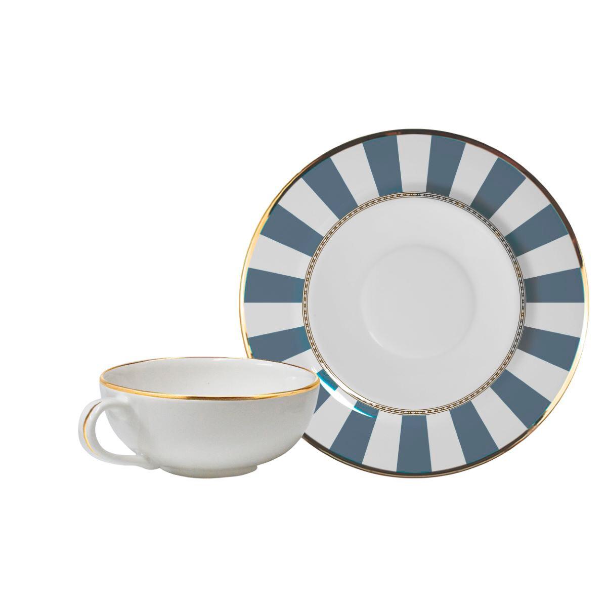 Xícara De Chá + Píres Blue Strip
