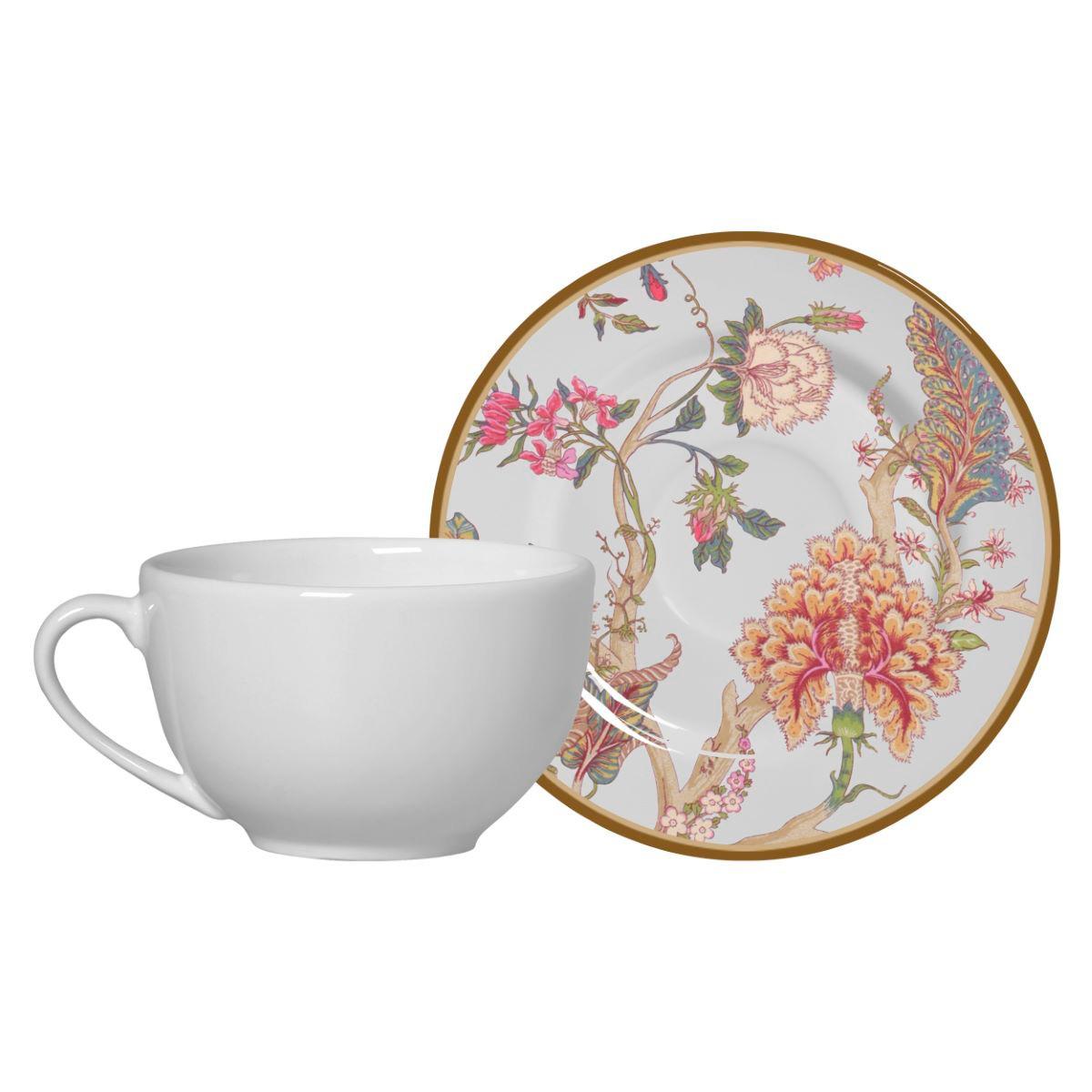 Conjunto de Xícara de Chá + Píres China Flowers Branca