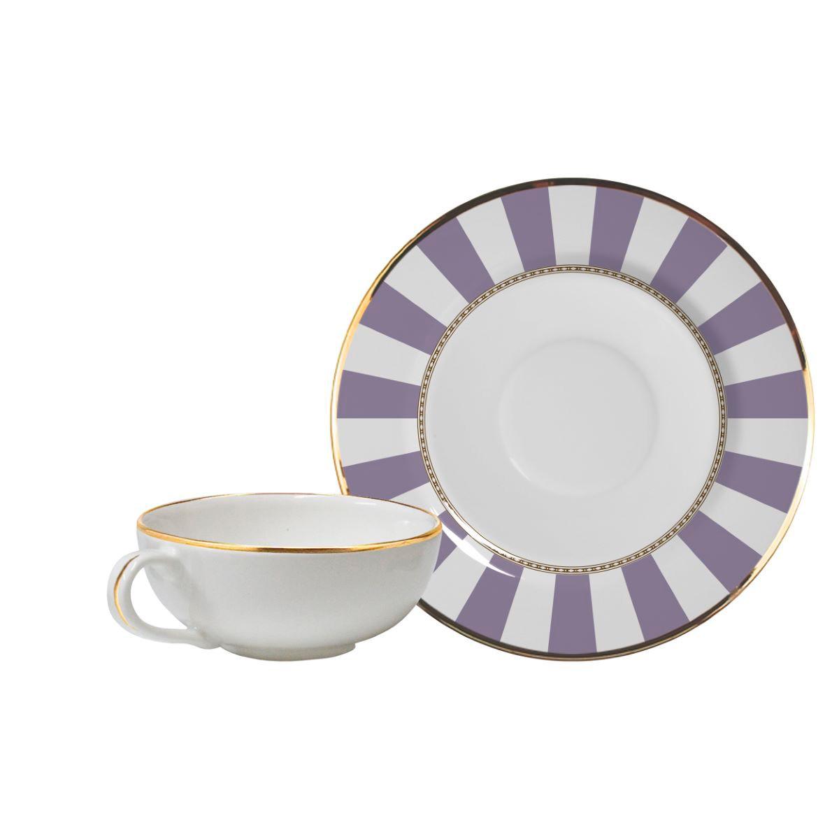 Conjunto de Xícara de Chá + Píres Lavender Strip