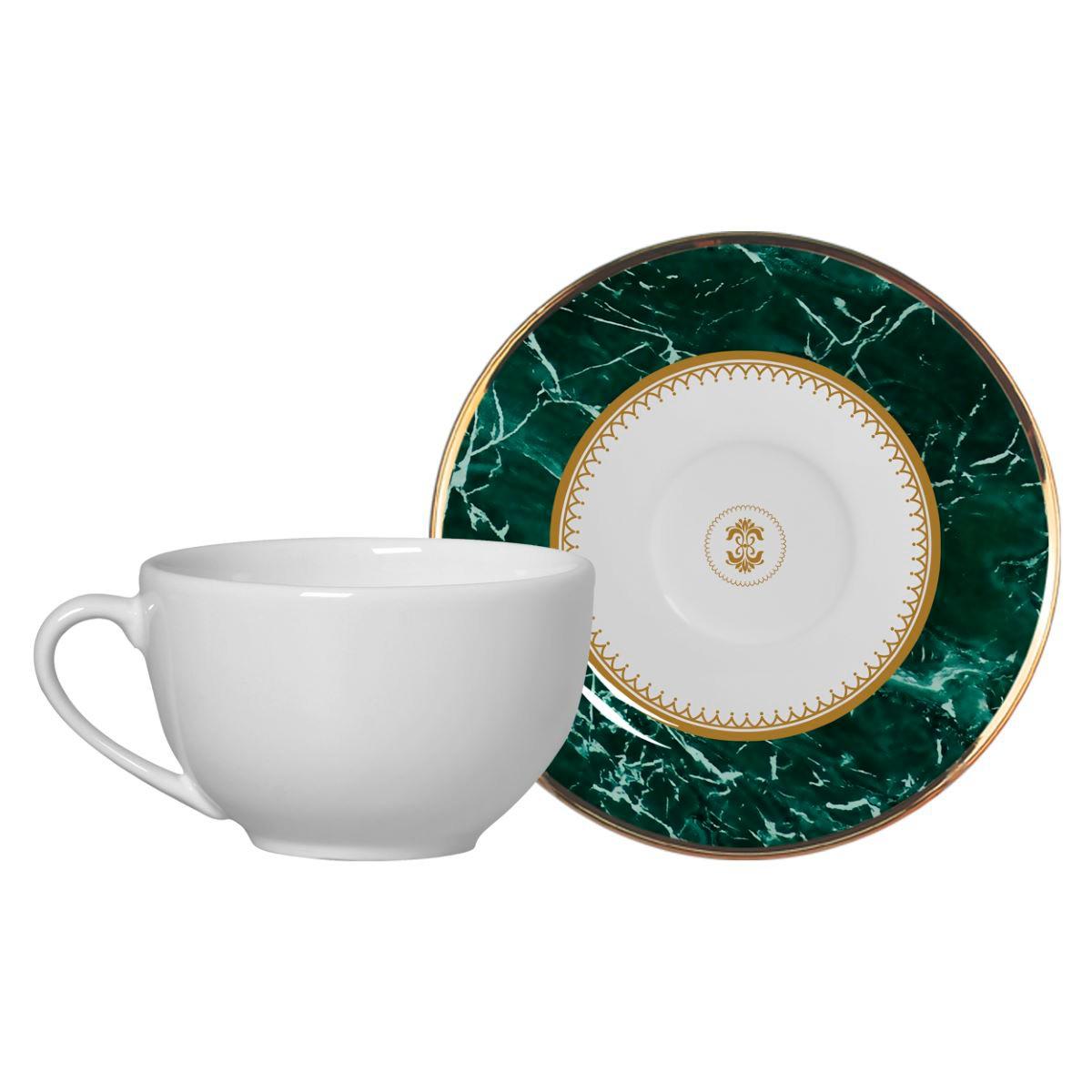Xícara De Chá + Píres Marble Verde