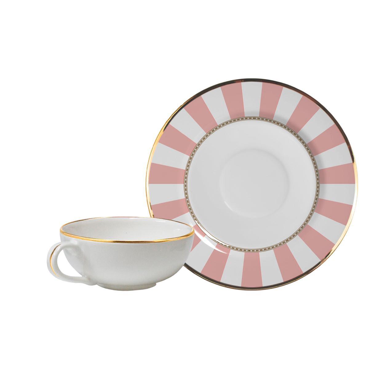 Conjunto de Xícara de Chá + Píres Pink Strip