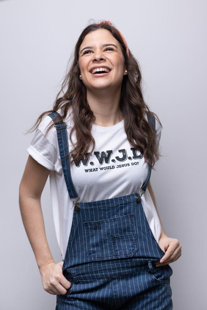 "Camiseta ""What Would Jesus Do"" Off White - Unissex"