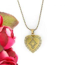 Colar com pingente relicário Coração Pequeno Ouro Velho