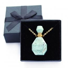 Colar Perfumeiro Difusor Pedra Quartzo Turquesa Pequeno