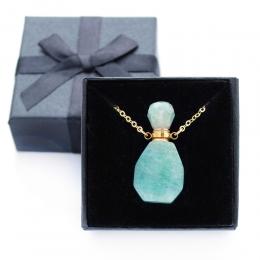 Colar Perfumeiro Difusor Pedra Quartzo Verde Pequeno