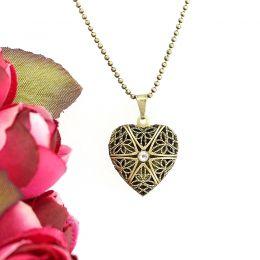 Colar Relicário Coração Ouro Velho Pequeno