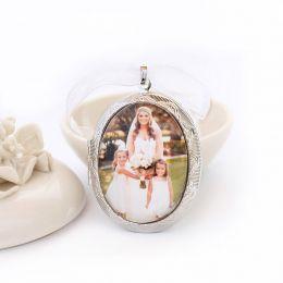 Relicário Camafeu Prata Para 3 Fotos Com Vidro Protetor