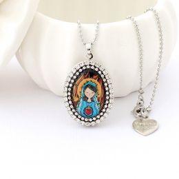 Relicário colar Sagrado Coração de Maria Prateado