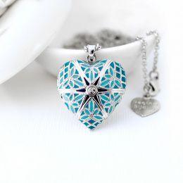 Relicário Coração Esmaltado Médio Prateado Azul