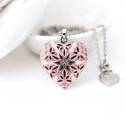 Relicário Coração Esmaltado Médio Prateado Rosa