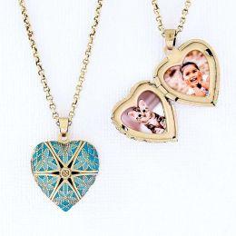 Relicário Coração Esmaltado Pequeno Ouro Velho Azul