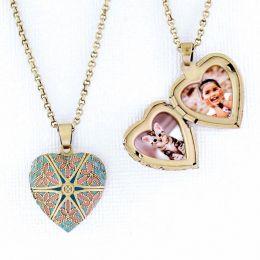 Relicário Coração Esmaltado Pequeno Ouro Velho Azul e Rosa
