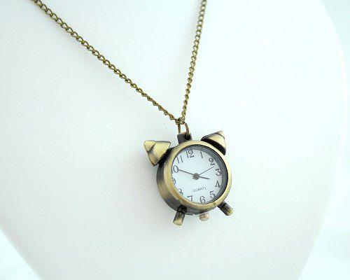 Colar Com Relógio Despertador Ouro Velho