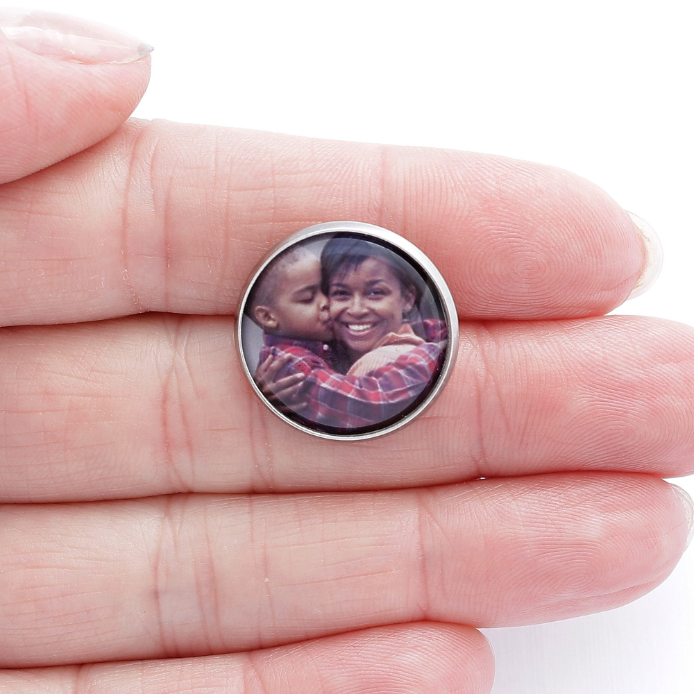 Botton Broche Pin com 1 foto personalizado prateado