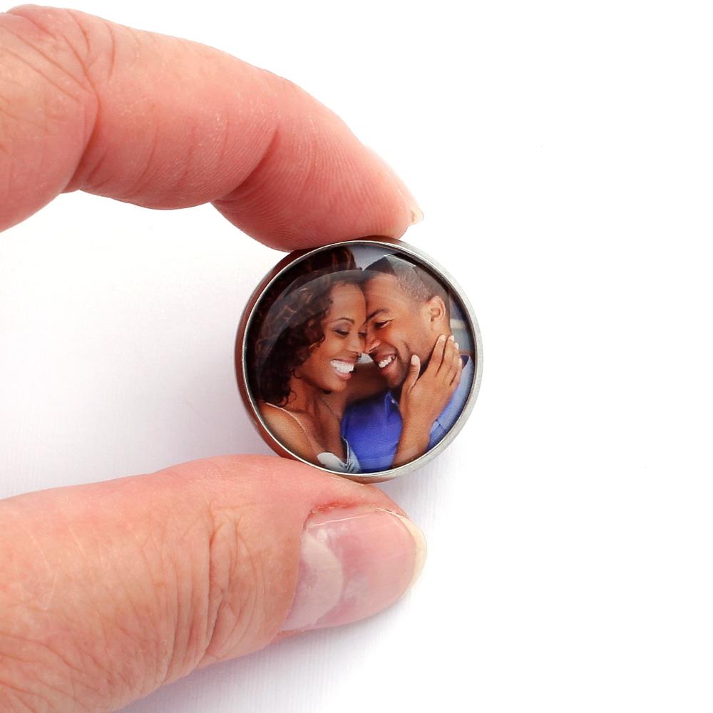 Botton Broche Pin com 1 foto personalizado prateado médio