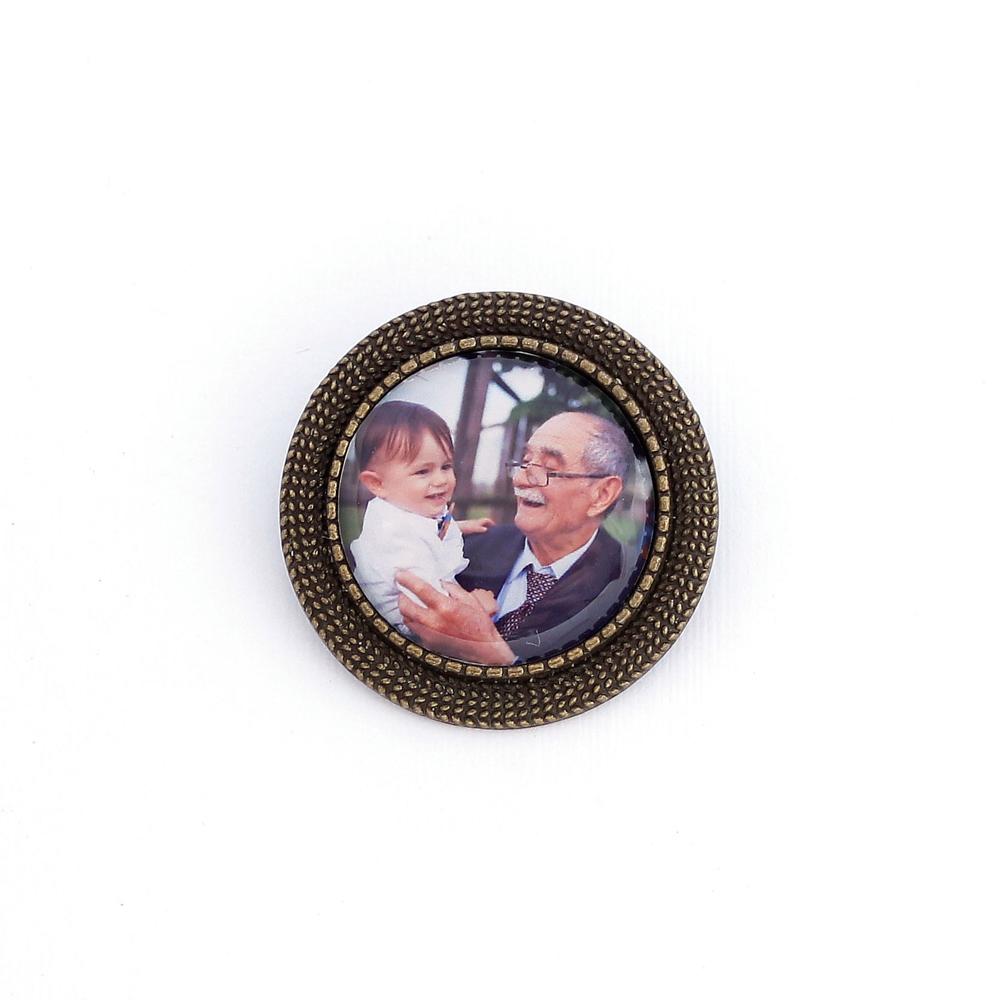 Broche Lapela de Noivo e Noiva com Foto Ouro Velho