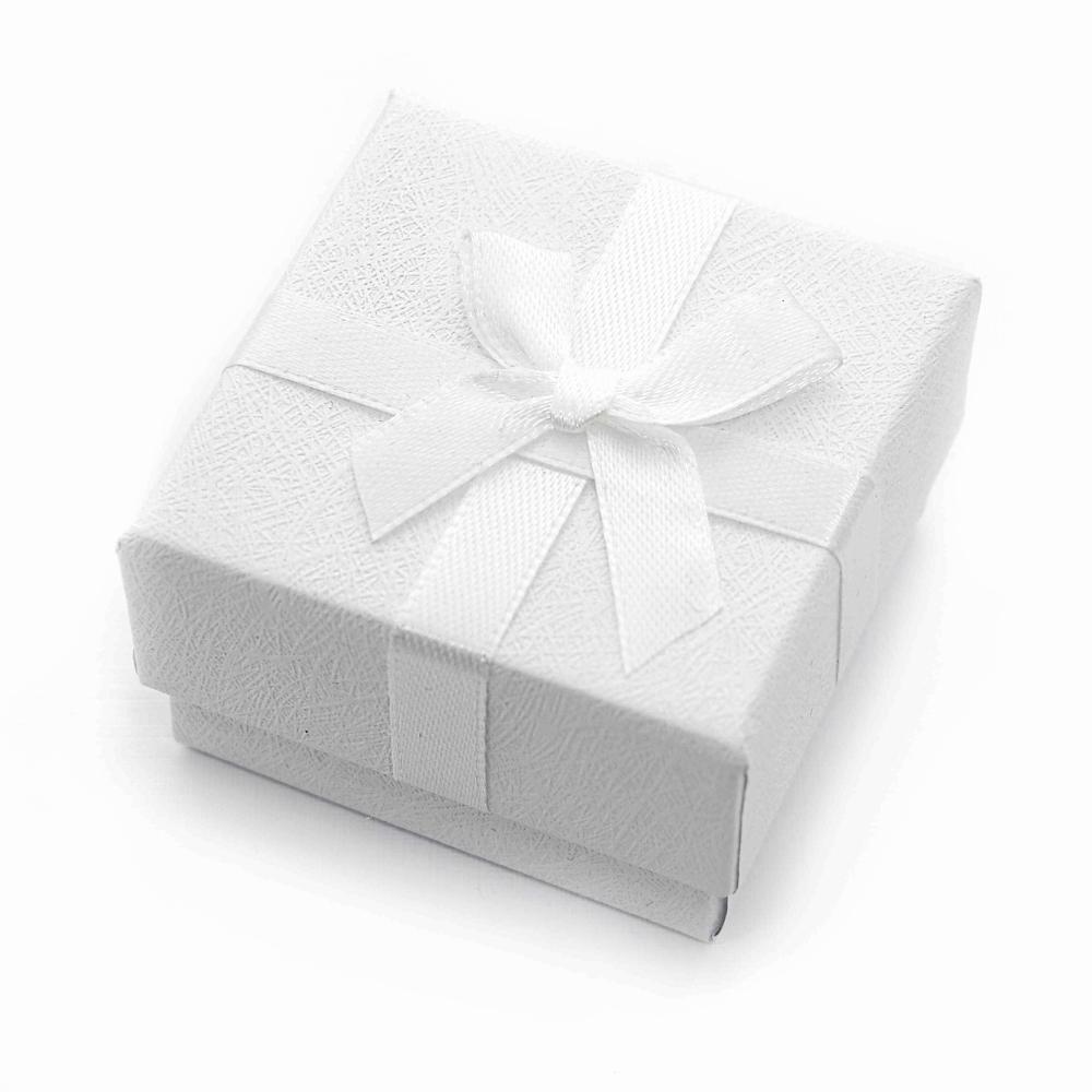 Caixa Rígida com Laço e Berço de Espuma para Joias - Branca - Kit com 10