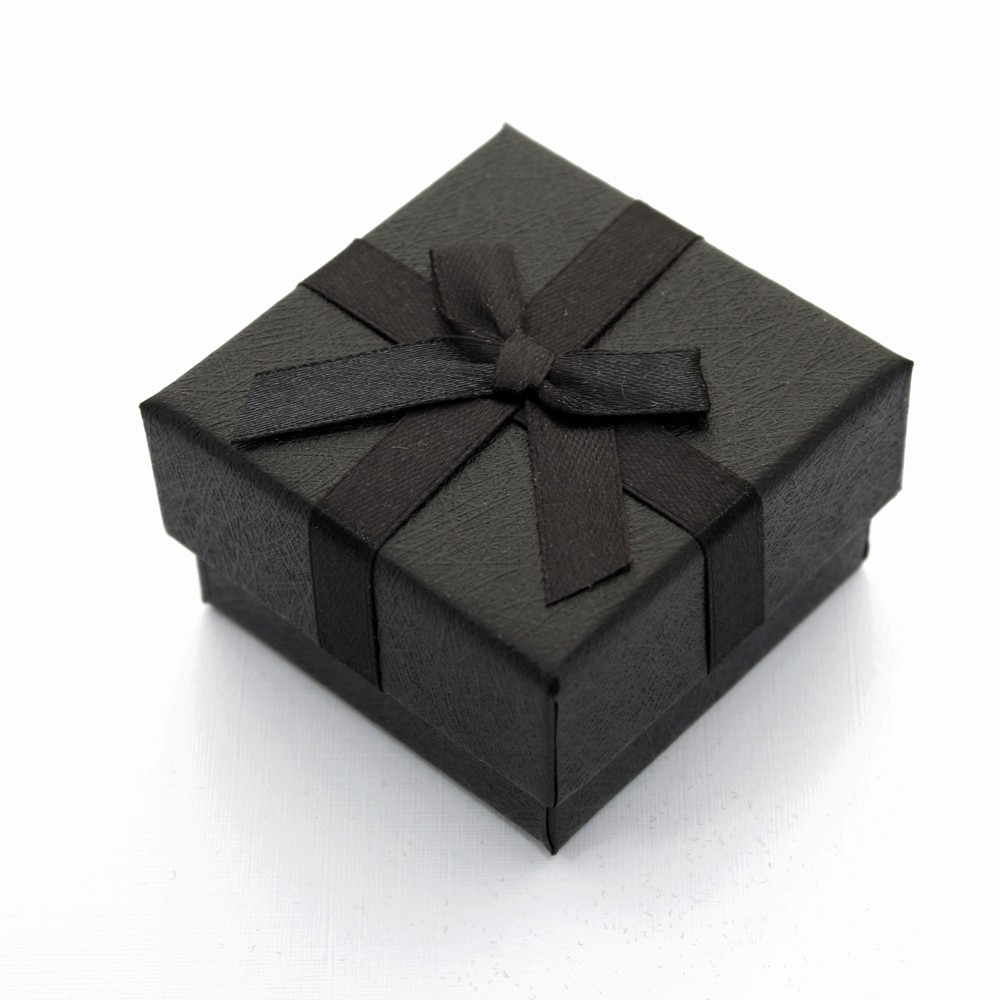 Caixa Rígida com Laço e Berço de Espuma para Joias - Preta - Kit com 10